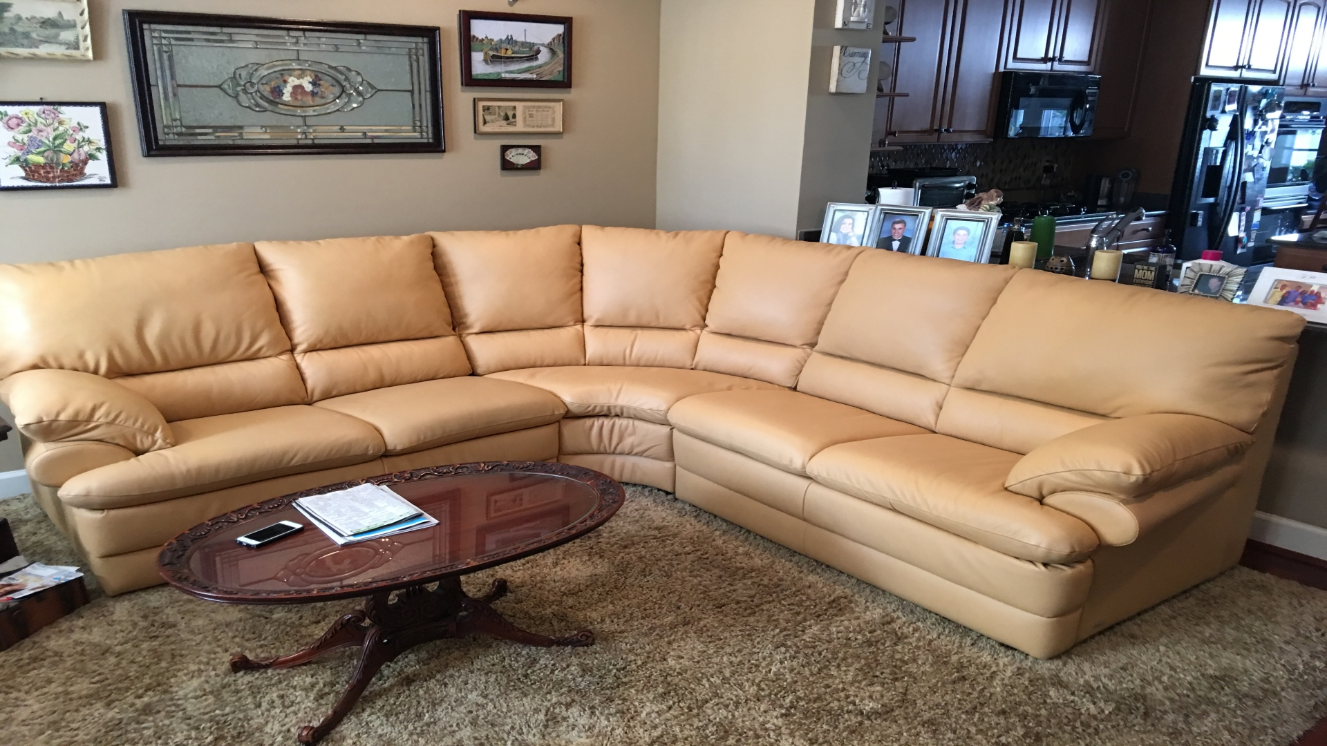 Tan color Leather sectional