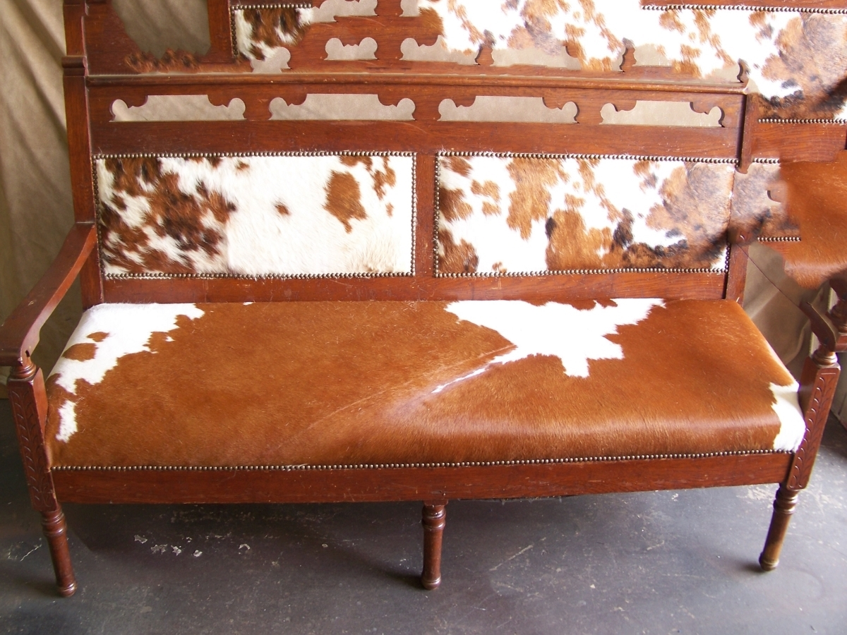 Cow hide skin chair redone