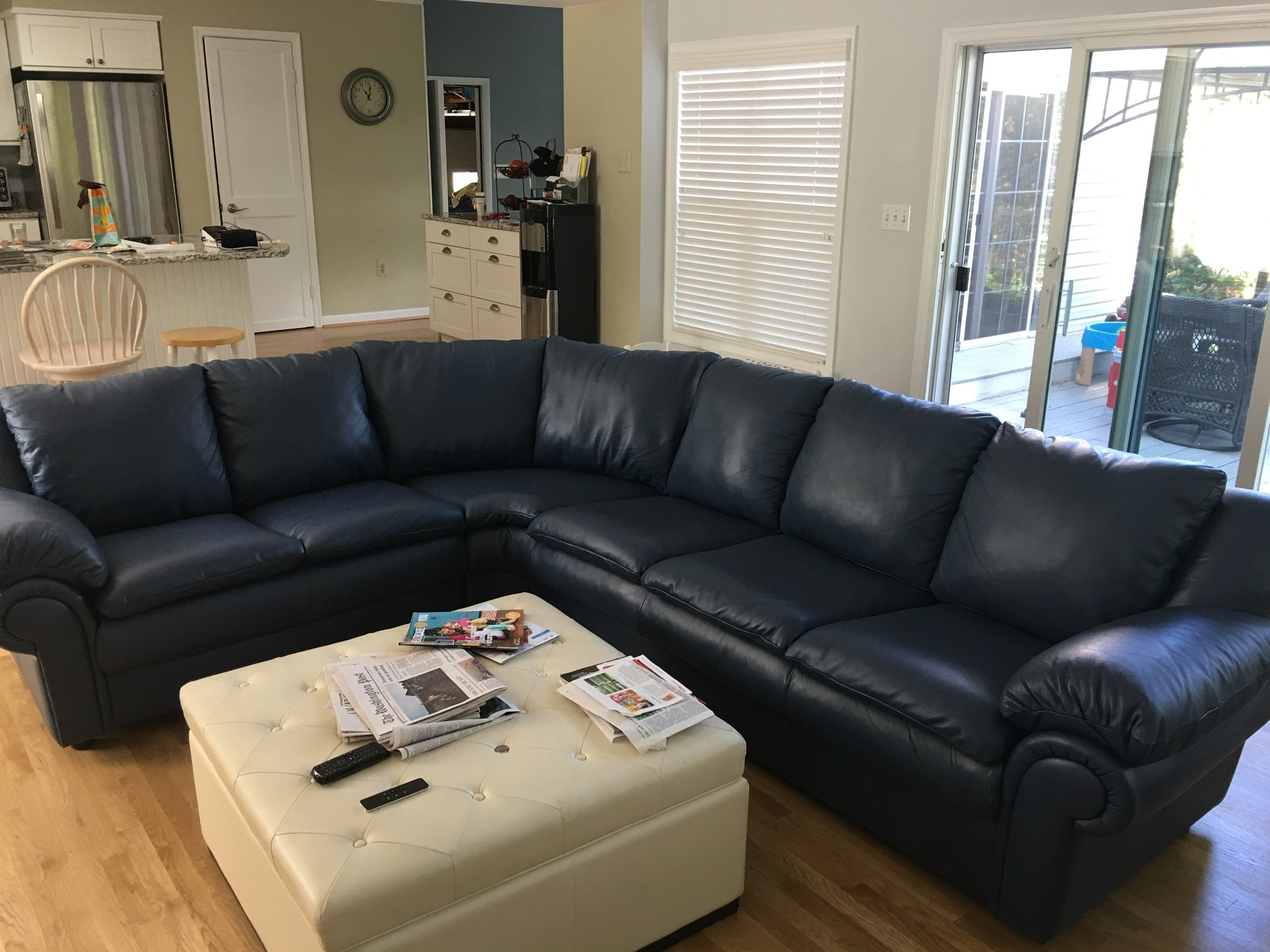 Blue sectional sofa set