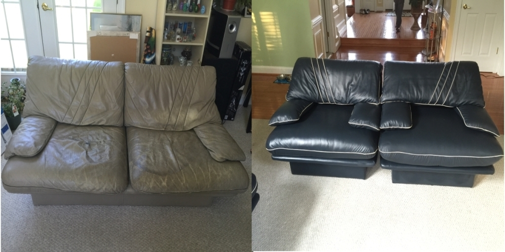 Love seat before and after