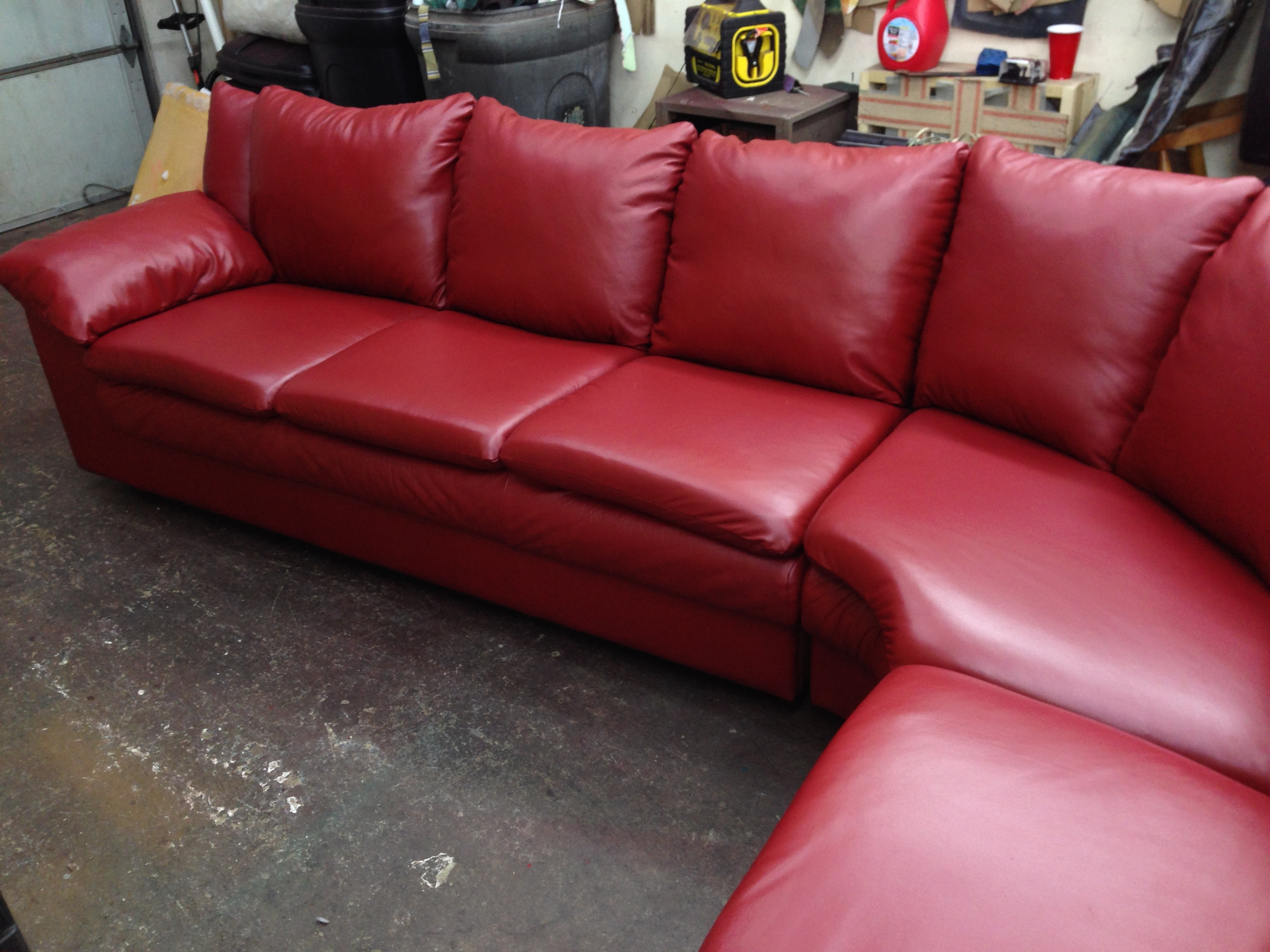Red sectional after