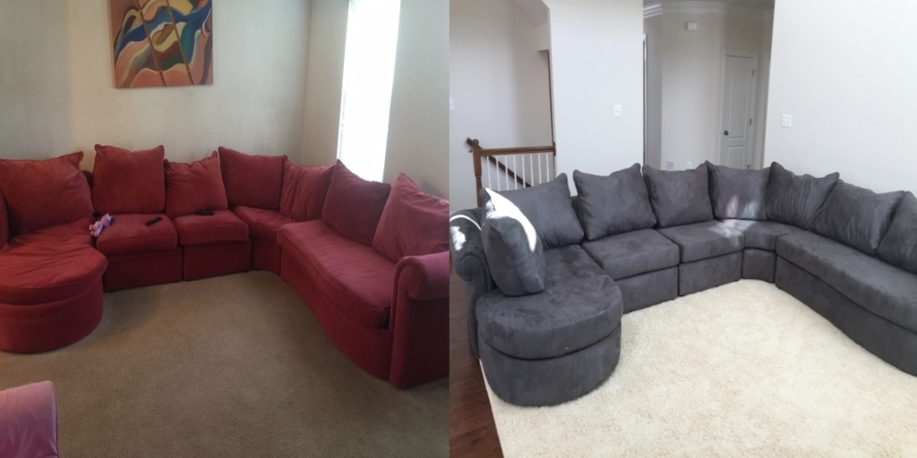 Sectional cloth set before and after