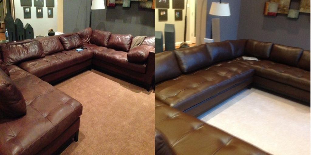 Sectional sofa before & afer