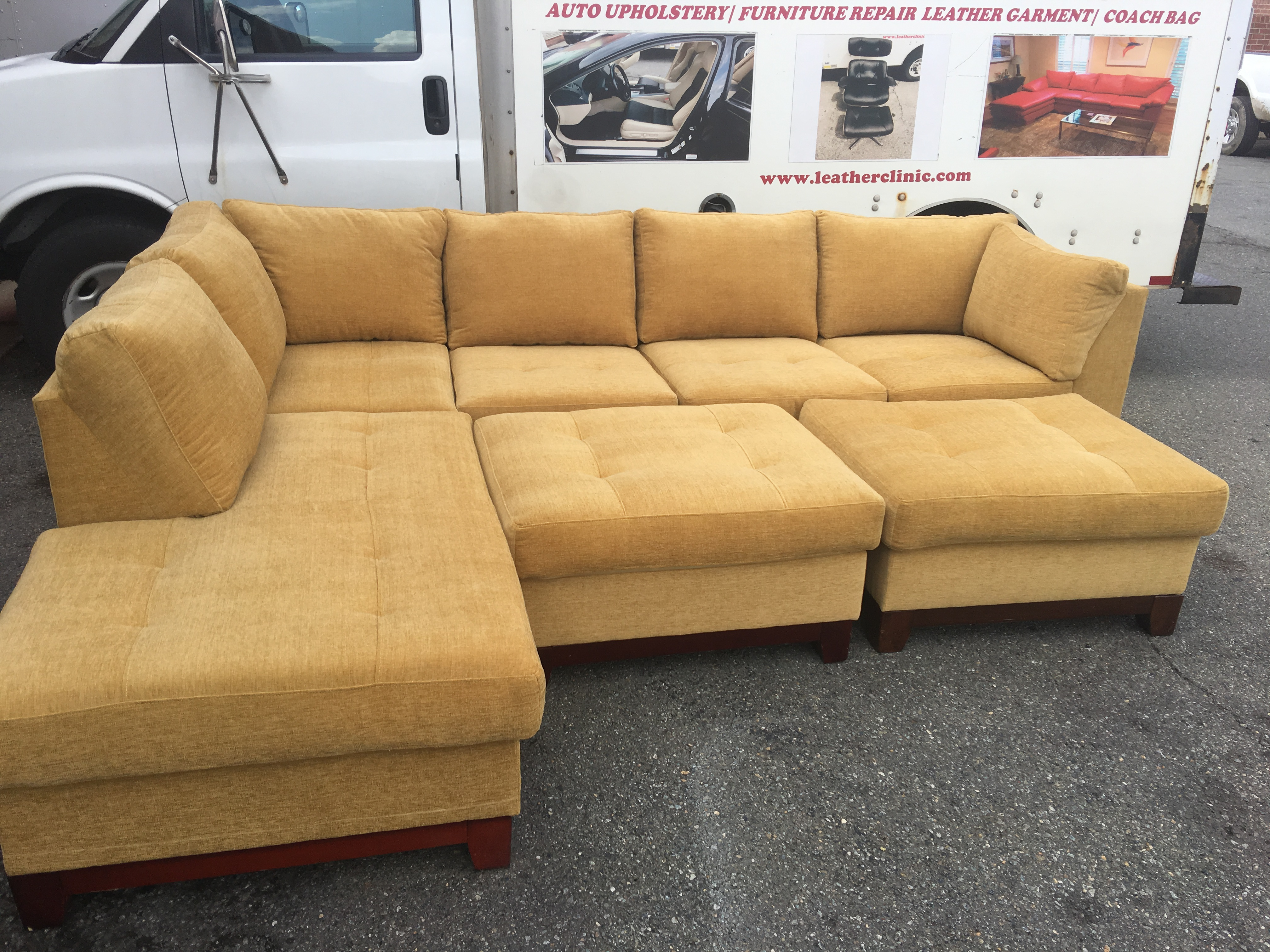 Ultra suede sectional finish