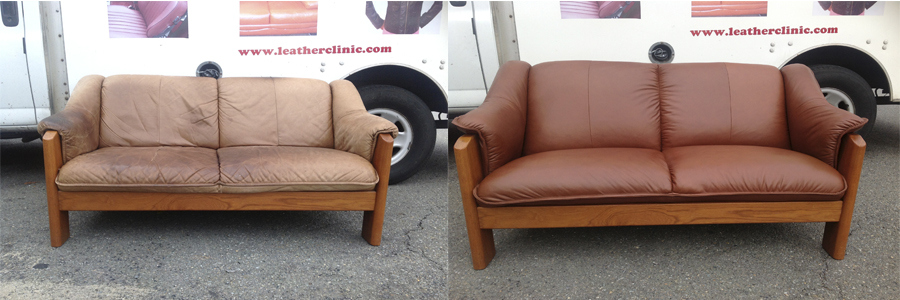 Wood frame leather sofa before & after